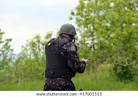 An unidentified person wears modern Ukrainian nazionalist battalion uniform . At May 7,2016 in Kiev, Ukraine - stock photo