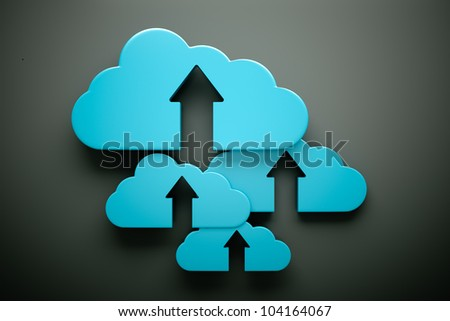an upload icon with cloud on grey - stock photo