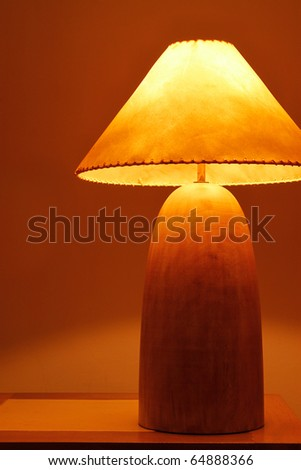 An warm and classical wooden lamp in Thailand - stock photo
