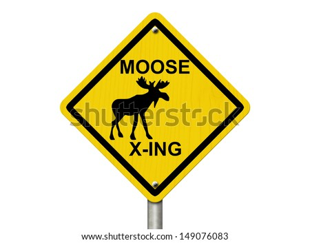 An warning sign isolated on white with moose symbol and words moose xing, Use caution moose are present - stock photo
