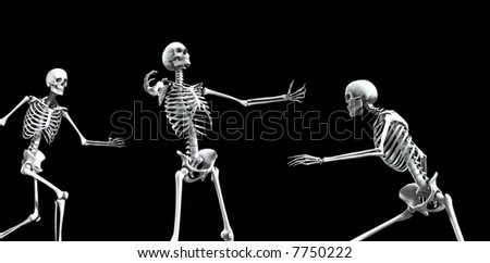 An x ray image of a group of skeletons. A suitable medical or Halloween based image. - stock photo