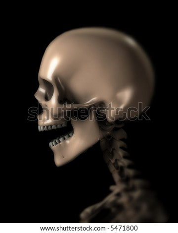 An x ray image of a person in which you can see the skull. A suitable medical or Halloween based image. - stock photo