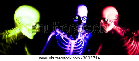 An x ray image of a some man in which you can see the Skelton under the skin. - stock photo