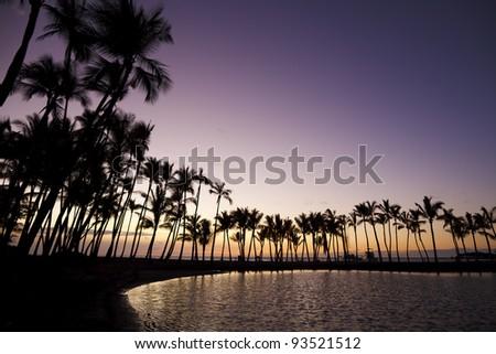 Anaehoomalu Bay Sunset,Hawaii - stock photo