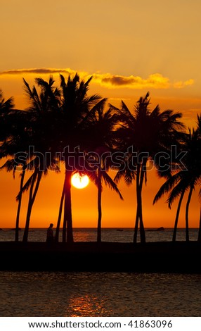 Anaehoomalu Bay Sunset on Big Island Hawaii - stock photo
