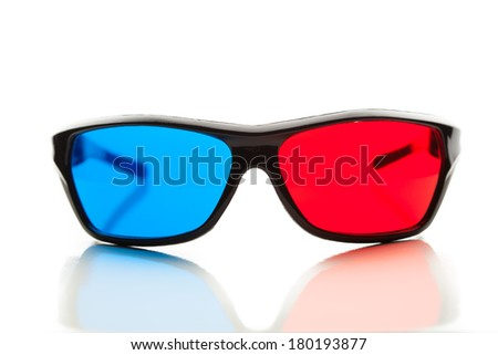 anaglyph 3d glasses, isolated on white - stock photo