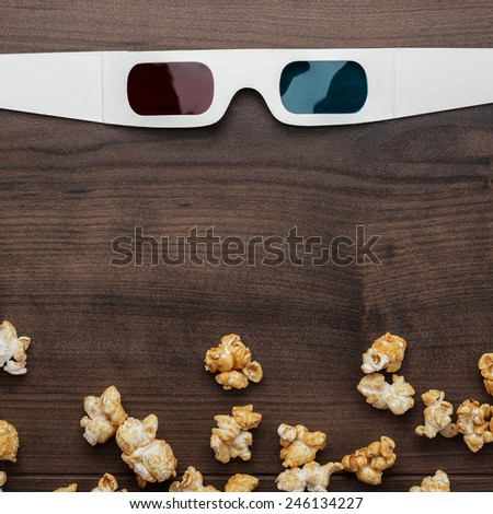 anaglyph technology concept on the brown wooden background - stock photo