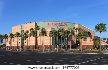 ANAHEIM, CA � MARCH 16: The Honda Center located in Anaheim, California, on March 16, 2014. The multipurpose arena is home to the Anaheim Ducks of the National Hockey League. - stock photo