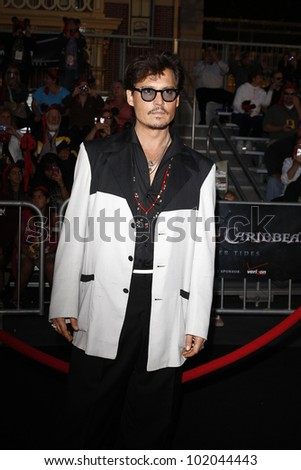 ANAHEIM - MAY 7: Johnny Depp at the world premiere of 'Pirates of the Caribbean: On Stranger Tides' held at Disneyland in Anaheim, CA on May 7, 2011. - stock photo
