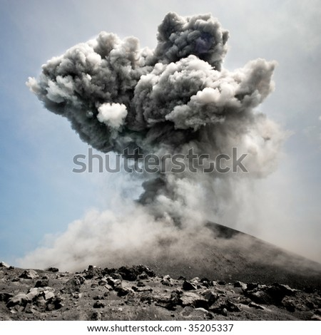 Anak Krakatau erupting - stock photo