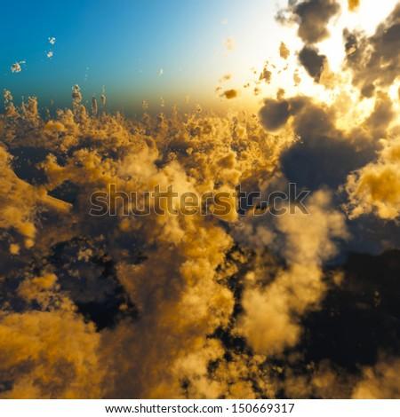 Anak Krakatau erupting - fantasy illustration - stock photo