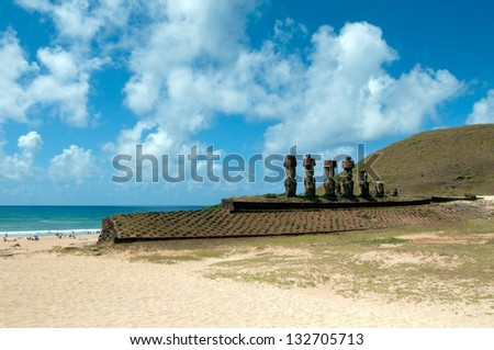 Anakena beach with Moai on Easter Island Chile - stock photo