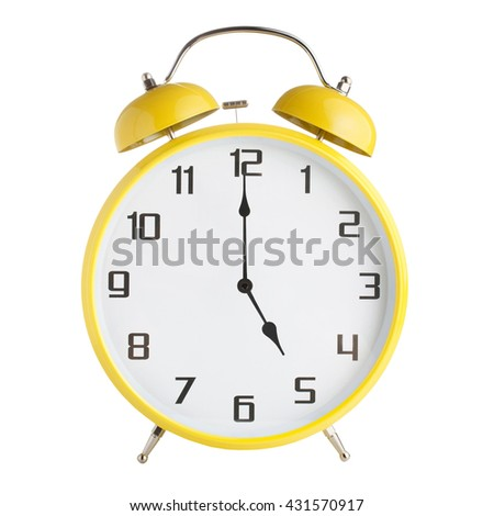 Analog alarm clock showing five o'clock isolated on white background - stock photo