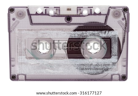 Analog audio cassette isolated on white background. Clipping path included. - stock photo