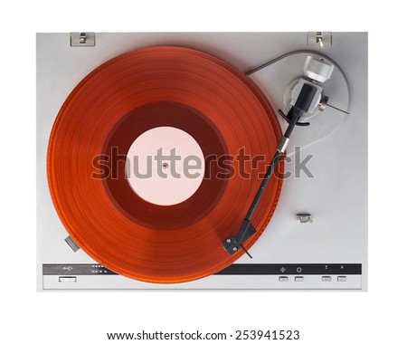 Analog music player isolated on white background - stock photo
