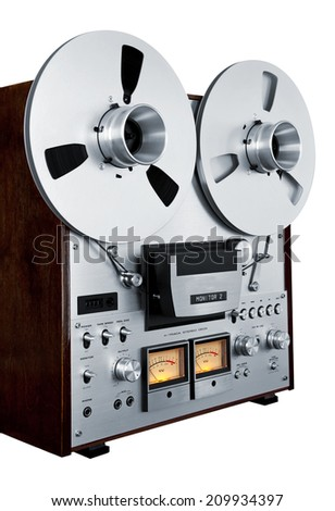 Analog Stereo Open Reel Tape Deck Recorder Vintage Isolated Closeup - stock photo