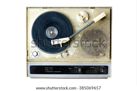 Analog Stereo Turntable Vinyl Record Player. Isolated on White - stock photo