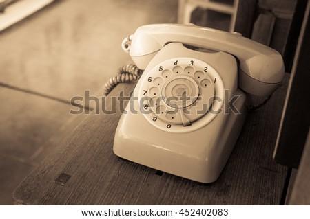 Analog telephone / Vintage look - stock photo