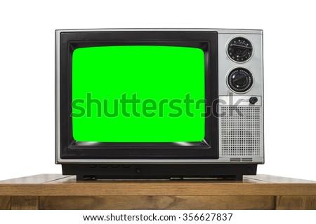 Analog television on white with chroma key green screen. - stock photo