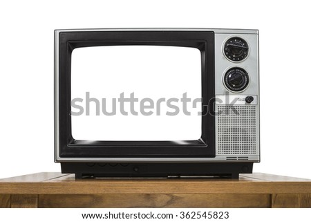 Analog television on white with cut out screen. - stock photo