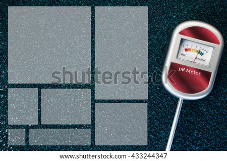 analog tool to measure soil ph on a rough textured background - dodged copy space - stock photo