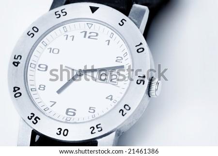 analog watch in white - stock photo