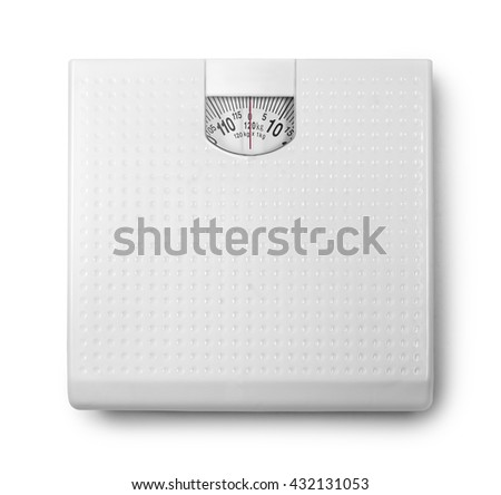 Analog weight scale isolated on white background with clipping part  - stock photo