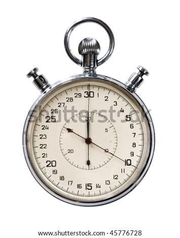 Analogue Stop Watch isolated on white background - stock photo