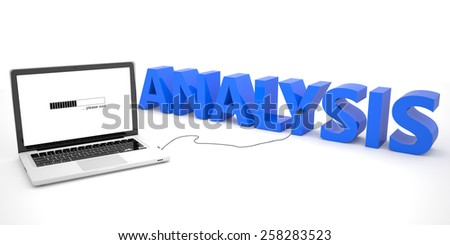 Analysis - laptop computer connected to a word on white background. 3d render illustration. - stock photo