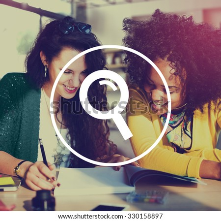 Analysis Magnifying Glass Searching Browse Concept - stock photo
