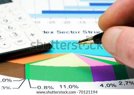 Analysis of business reports - stock photo