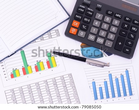 Analysis of financial reports - stock photo