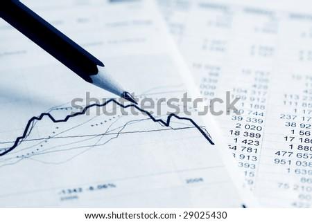 Analysis of stock exchange reports. - stock photo