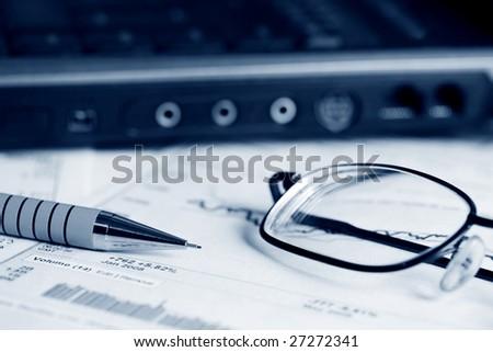 Analysis of stock market reports. - stock photo