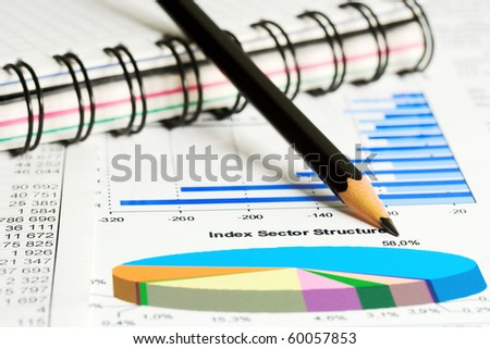 Analysis of stock market reports. - stock photo