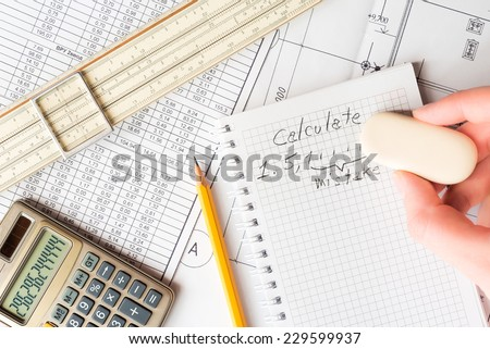 Analysis of the design work, correcting errors in the calculations - stock photo