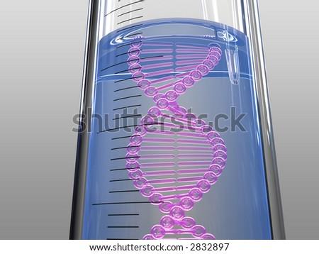 analysis test tube, DNA chain, blue liquid - stock photo