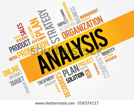 Analysis word cloud, business concept background - stock photo