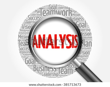 Analysis word cloud with magnifying glass, business concept - stock photo
