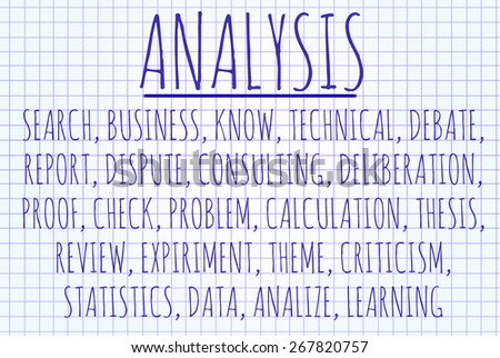 Analysis word cloud written on a piece of paper - stock photo