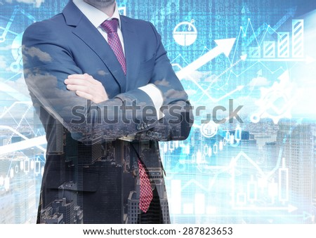 Analyst with crossed hands is standing in front of the digital financial calculations and predictions on the background. A concept of the capital market transactions and forex deals. - stock photo
