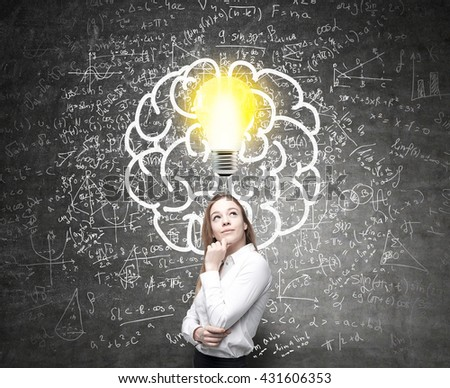 Analytical thinking concept with lightbulb, brain sketch and mathematical formulas on wall - stock photo