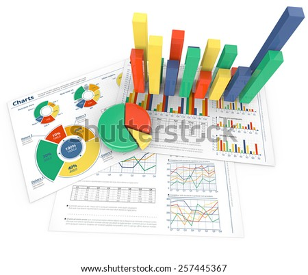 Analyze. Colorful infographics documents and 3D graphs and charts. - stock photo