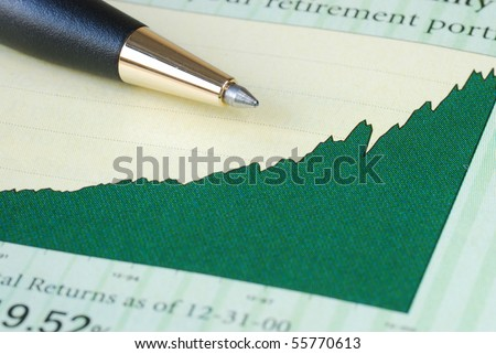 Analyze the investment return from the chart - stock photo