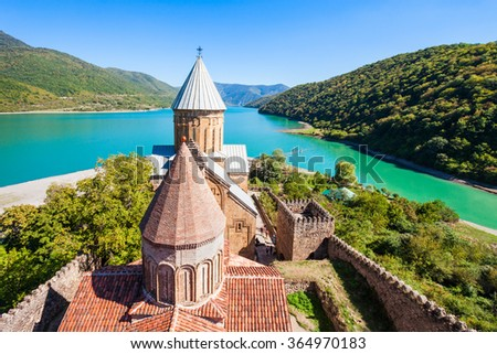 Ananuri is a castle complex on the Aragvi River in Georgia. Ananuri Castle is located about 70 kilometres from Tbilisi. - stock photo