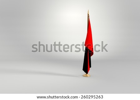 Anarchist isolated flag on a brown and golden wooden mast 3d illustration - stock photo