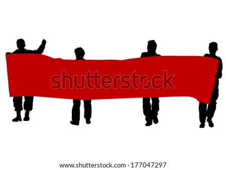 Anarchists people with large banner - stock photo