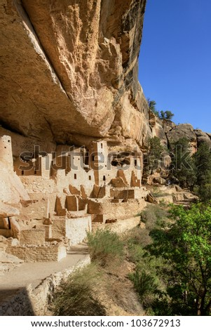 Anasazi cliff dwellings at Mesa Verde National Park, CO - stock photo