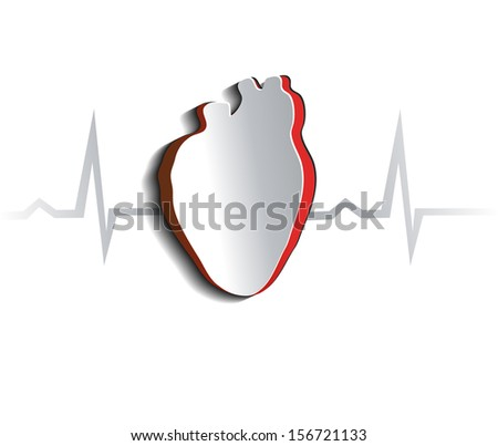 Anatomy of human heart, abstract design. Cut out heart shape and cardiogram. - stock photo