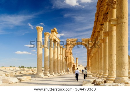 Anceint ruins of Palmyra, an ancient Semitic city, Syria - stock photo
